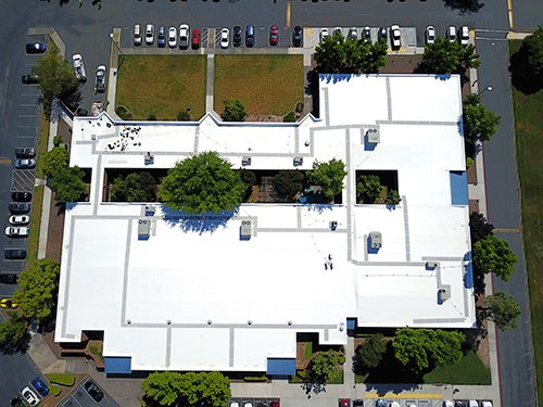 PVC Single ply roof on EDD in Sacramento.