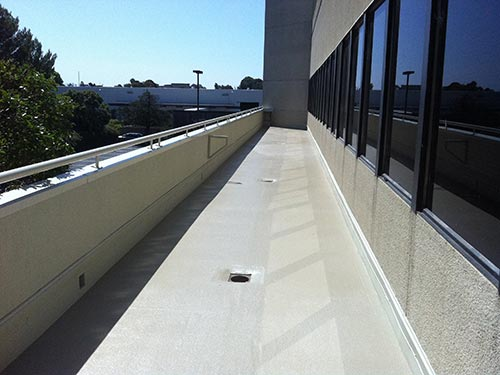 waterproofed external deck outside office building